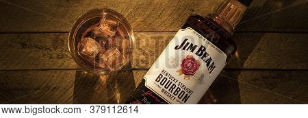 Russia, Krasnoyarsk, July 28, 2020: A Bottle Of Jim Beam Bourbon From Kentucky And A Glass Of Ice On