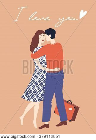 Embracing Couple. Valentine's Day Card. Cute Couple In Love. Vector Illustration In Hand Drawn Style