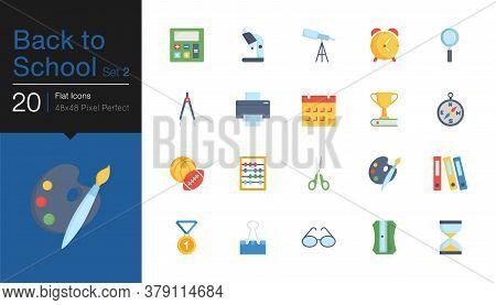 Back To School Icons Set 2. Flat Design. For Presentation, Graphic Design, Mobile Application Or Ui.