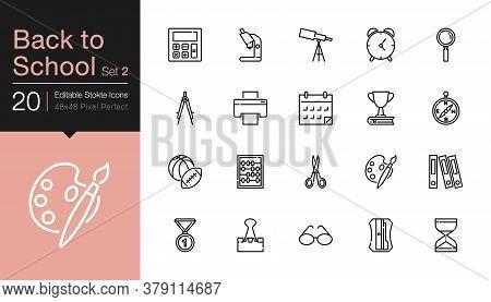 Back To School Icons Set 2. Modern Line Design. For Presentation, Graphic Design, Mobile Application