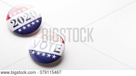 2020 Usa Elections. Vote Political Election Pin With Patriotic American Stars And Stripes On White B