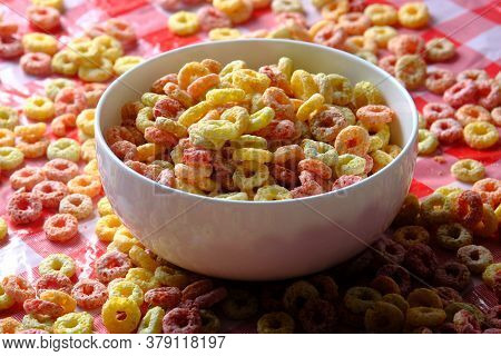 Colorful Ring Corn Flakes In A Bowl On Table Cloth