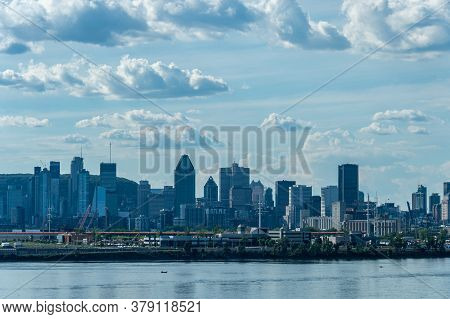 Montreal, Ca - 31 July 2020: Montreal Skyline From Samuel De Champlain Bridge