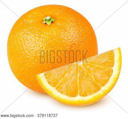 Isolated Orange Fruits. Orange Fruit With And Cut Isolated On White Background Clipping Path