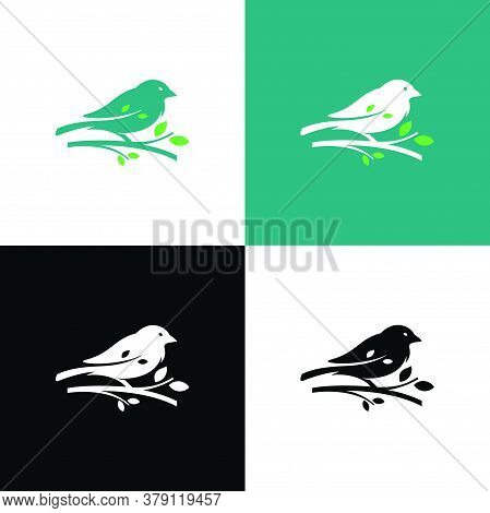 Silhouette Logo Of A Bird Perched On A Tree Branch. Characterized By Calm, Clean, And Professional.
