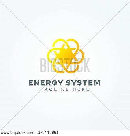Fusion Energy Logo. Shaped Like The Sun, Describes A Nuclear Chemical Reaction. Suitable For Energy