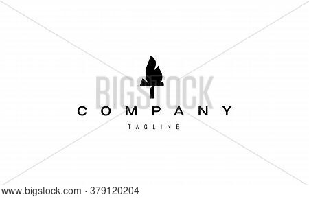 Vector Logo On Which An Abstract Image Of An Ancient Stone Arrowhead.
