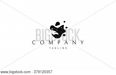 Vector Logo On Which The Abstract Image Of The Silhouette Of A Phoenix In A Shapeless Black Spot Of