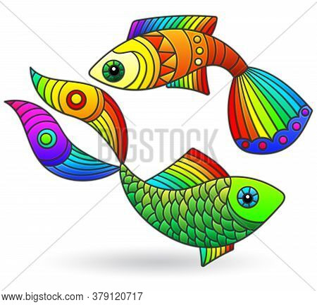 A Set Of Illustrations In A Stained Glass Style With Bright Rainbow Abstract Fish Isolated On A Whit