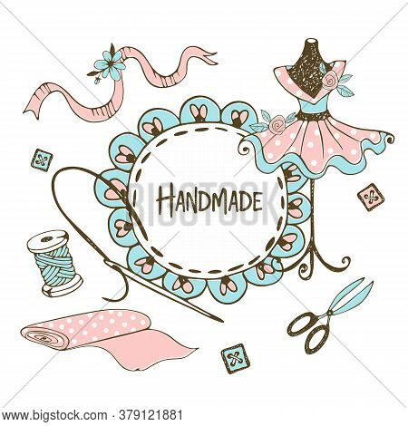 Cute Frame With Ruffles In Doodle Style With A Tailor Mannequins . Vector