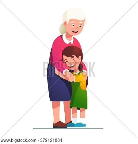 Smiling Grand Mother Embracing Grand Daughter Kid