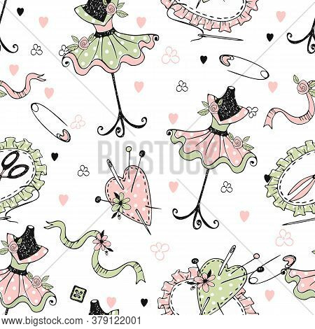 Seamless Pattern On The Theme Of Tailoring With Tailor Mannequins And Sewing Accessories. Vector