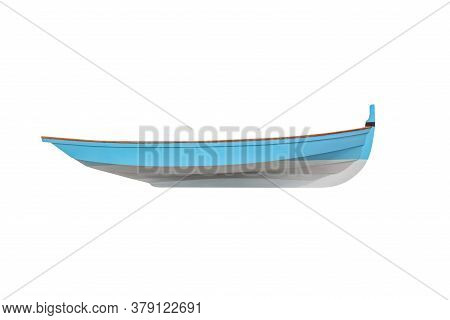 Blue  Wooden Fishing Boat Isolated On White Background