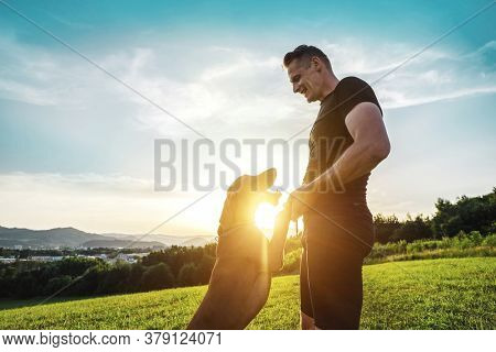 Silhouettes of runner and dog on field under golden sunset sky in evening time. Outdoor running. Athletic young man with his dog are funning in nature.