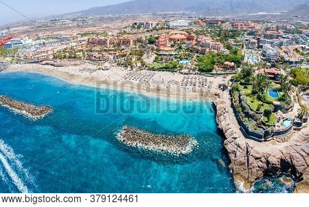 Aerial View With El Duque Beach At Costa Adeje, Tenerife, Canary Islands, Spain