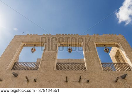 November 2019. Dubai Uae. Typical Local Architecture At Al Seef In Dubai Uae