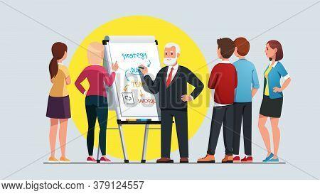 Business Teacher Explaining Work Process To Class