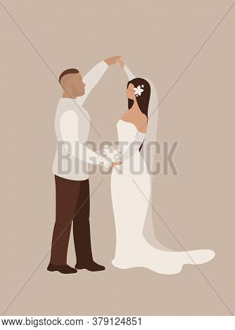 Wedding Dance Of The Bride And Groom In Full Growth On A Vertical Poster, In A Wedding Dress In Prof
