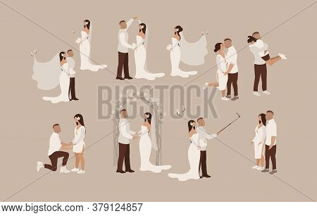 Bride And Groom Wedding Set Different Scenes Of Newlyweds, Happy Couple In Love, In A Minimalist Car