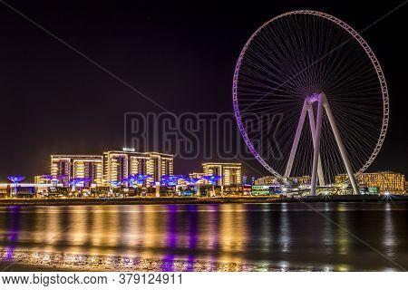 November 2019. Dubai Uae. Dubai Observation Wheel In Blue Waters In In Dubai Uae