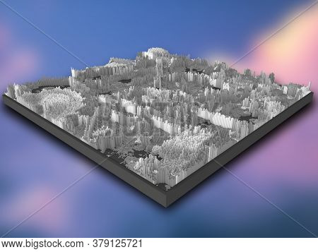 3D render of an isometric landscape of grey extruding cubes on a gradient blur background