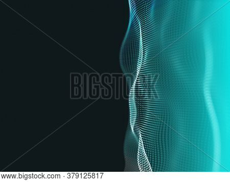 3D render of an abstract techno background with flowing particles