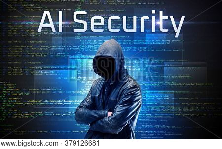 Faceless hacker with AI Security inscription on a binary code background