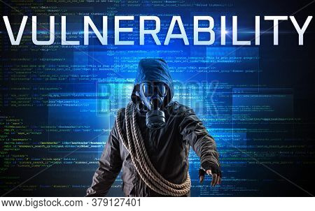 Faceless hacker with VULNERABILITY inscription on a binary code background