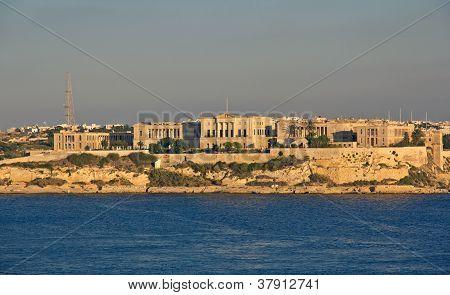 Panoramic View To Villa Bighi From Valletta, Malta