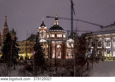 Moscow, Russia - Jan. 2. 2019. Night Cityscape With The Temple Of The Great Martyr Varvara
