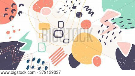 Scandinavian Color Abstraction. Scandinavian Painting Style With Geometric Elements Of Texture. Grea