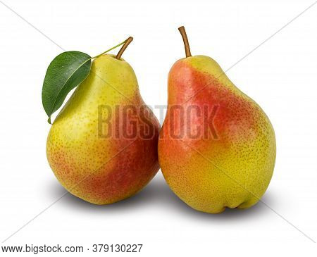 Two Red Yellow Pears With Leaf, Isolated On A White Background. Clipping Path Included.