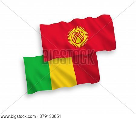 National Fabric Wave Flags Of Mali And Kyrgyzstan Isolated On White Background. 1 To 2 Proportion. 3