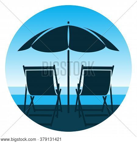 Vector Deck Chairs Under Beach Umbrella On The Beach