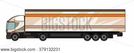 Car. Vector. Large Truck For Transporting Goods. Freight Transportation Auto Transportation. Cartoon