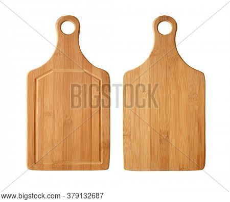 Natural Bamboo cutting board. Rustic wooden chopping board - front view and back view. Isolated on white background