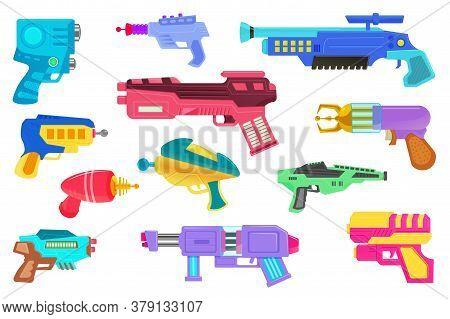 Blaster Icon. Futuristic Space Game Design Weapon. Laser Handgun Or Blaster Gun Icon Set Isolated On