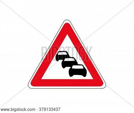 Road Sign. Caution Traffic Column . Traffic Jam, Vector Icon. Car Column In Red Triangular Frame. Gr