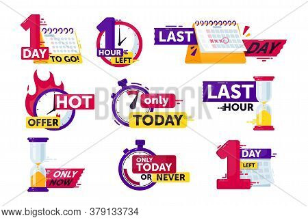 Time Left Set. Isolated Clock, Timer, Calendar And Hourglass With Hour And Day Time Left Count Down