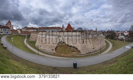Panorama Of Vilnius  City Of Lithuania, View Of The Fortified Wall Of The Bastion . Downtown