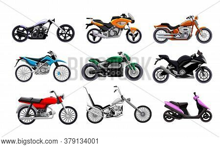 Motorbike Icon Set. Isolated Motorcycle, Scooter, Chopper And Sport Bike Icon Collection. Motor Tran