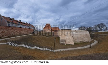 Old Vilnius  City Of Lithuania, View Of The Fortified Wall Of The Bastion . Downtown