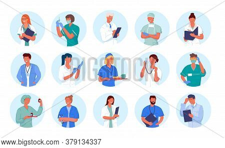Doctor Avatar. Medicine Employee Character Portrait. Doctor And Nurse Round Icon Set Isolated On Whi