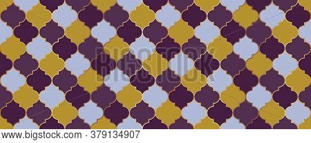 Ramadan Traditional Golden Mosque Grid. Moroccan Seamless Mosaic Pattern. Seamless Moroccan Texture