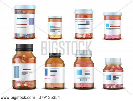 Pill Bottles. Realistic Medical Glass Containers With Plastic Caps Pills And Labels, 3d Drugs And Me