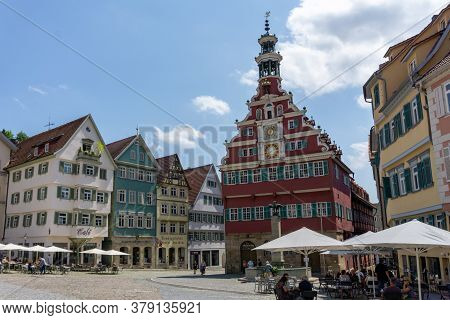 View Of The Town Square And Old 15Th Century Town Hall In Esslingen