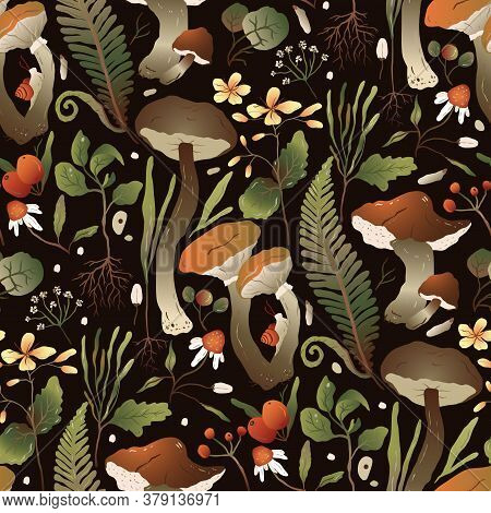Handdrawn Trendy Forest Background. Seamless Vector Floral Pattern With Autumn Designs In A Flat Sty