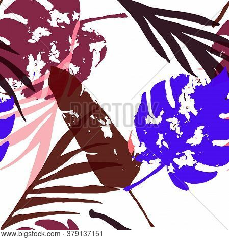 Palm, Banana Leaves Vector Seamless Pattern, Blue Pink Purple Indigo Floral Textile. Hand Painted Ju