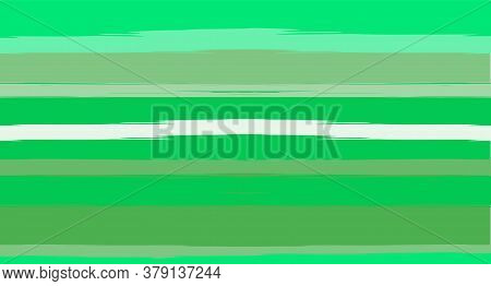 Green, Turquoise Vector Watercolor Sailor Stripes Trendy Seamless Summer Pattern. Horizontal Brushst