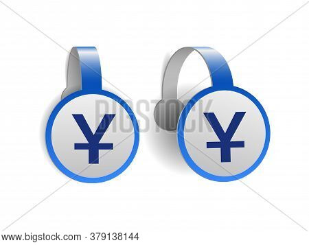Chinese Yuan Symbol On Blue Advertising Wobblers.